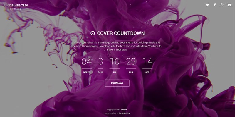 Cover Countdown – One Page Websites (html, bootstrap)